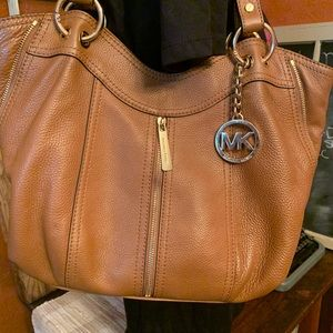 Michael Kors brown satchel with matching wallet